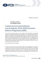 Comments/recommendations concerning the 2018-2020 Economic Reform Programme (ERP)